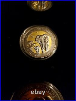 2015 Somalia African Wildlife Elephant Ruthenium Golden Enigma Silver Coin Set