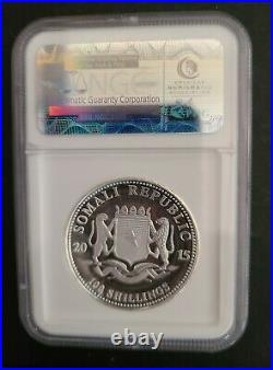 2015 Somalia African Wildlife High Relief Silver Elephant NGC PF69 ULTRA CAMEO