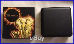 2015 Somalia Burning Elephant. 999 Silver BU Coin withBlack Ruthenium OGP/COA