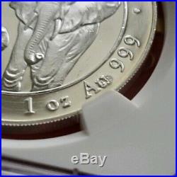 2015 Somalia Elephant 100S Mule Error- Gold Stamp NGC GEM 1oz. 999 Silver Coin