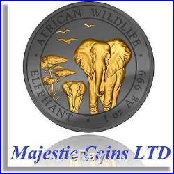 2015 Somalia Elephant 1 oz Silver Gold Gilt Ruthenium Plate Majestic Coin