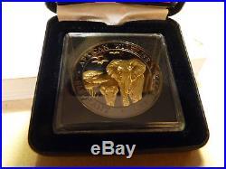 2015 Somalia Elephant African Wildlife BU Golden Enigma 1oz Silver Coin