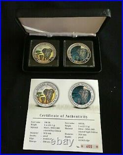 2015 Somalia Elephant Colorized DAY & NIGHT Silver 2-Coin Set COA# 400 / 500