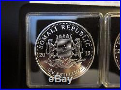 2015 Somalia Elephant Day & Night Colorized 2 silver coin set African Wildlife