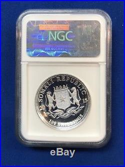 2015 Somalia Elephant Silver 100 S 1 Oz 999 NGC PF 70 UC Early Release