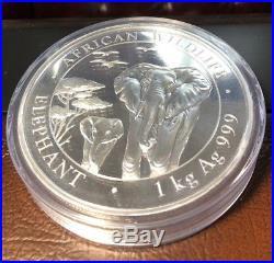 2015 Somalian Elephant 1 Kilo (32.15 Troy Ounces). 9999 Silver BU African Coin