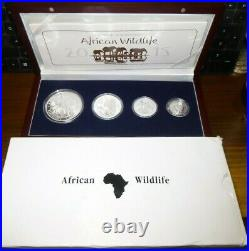 2015 Somalian SILVER ELEPHANT 4 COIN PROOF SET in Box with COA African Wildlife
