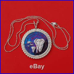 2015 Somolia Elephant 1 Oz. 999 Fine Silver Toned Coin Sterling Silver Necklace