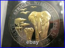 2015 Somolia Golden Enigma Elephant Ruthenium 1 Oz. 999 Silver 24k Pltd Coin