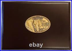 2015 Tanzania 2 Pc 1 oz Proof HR Gold & Silver Elephant Coins Set NGC PF70 UC