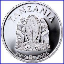 2015 Tanzania Silvered 100 Shillings Serengeti Elephant PL 70 UC NGC Coin