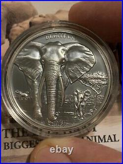 2016 1000 Shilling Tanzania Elephant High Relief 1 Oz Silver Proof