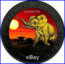 2016 1 OZ Silver ELEPHANT AT SUNSET Ruthenium Coin, 24K GOLD GILDED