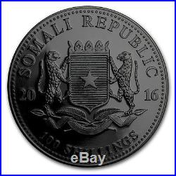 2016 1 Ounce Somalian African Elephant At Night 24K & Ruthenium Silver Coin