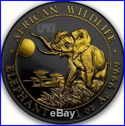 2016 1 Oz Silver SOMALIAN ELEPHANT Coin WITH 24k Gold. IN CAPSULE