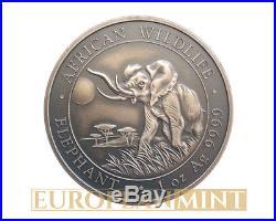 2016 1 oz 9999 Fine Silver Elephant Somalia Antique Finish