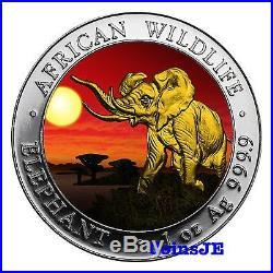 2016 1oz. 999 Somalia African Elephant Night Sunset Gold Gilded Coin