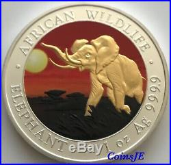 2016 1oz. 999 Somalia African Elephant Night Sunset Gold Gilded Silver Coin
