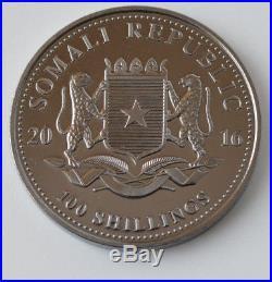2016 1oz. 999 Somalian Elephant Twilight collection Ruthenium Gold Gilded Silver