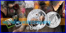 2016 Niue Island silver coin, Asian Elephant Endangered Animal Species NEW