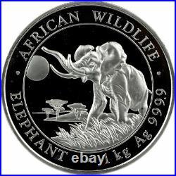 2016 Somalia 2,000 Shillings African Wildlife Elephant Kilo. 999 Silver Coin