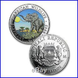 2016 Somalia 2-Coin 1 oz Silver Elephant Set Day/Night (Colored) SKU #93160