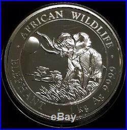2016 Somalia Elephant 1 Kilo African Wildlife. 9999 Silver Coin in Capsule BU