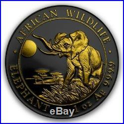 2016 Somalia Elephant. 9999 Silver Gold Gilded Ruthenium Limited 1/100 #f (dr)