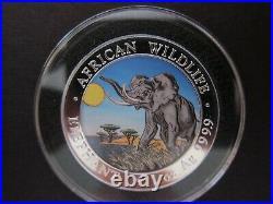 2016 Somalia Elephant African Wildlife 1 Oz Color Pure Silver BU Coin Day