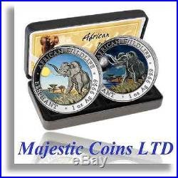 2016 Somalia Elephant Silver Night & Day Official Colorized 2 Coin Set Majestic