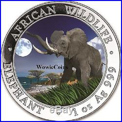 2016 Somalian 1 oz 999.9 Silver Majestic Elephant Colourized Collectable Coin