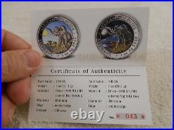 2016 Somalian ELEPHANT DAY & NIGHT Colorized Silver 2 Coin Set (43 of 500) COA