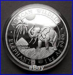 2017 1 Kilo (32.15 oz) Pure Silver Somalia African Wildlife Elephant (BU)