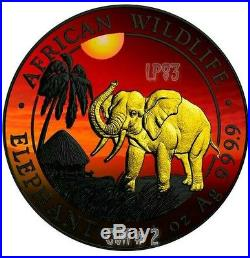2017 1 Oz Silver AFRICAN ELEPHANT AT SUNSET Coin With RUTHENIUM N 24 Gold. COA #2