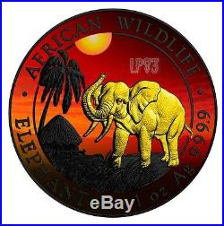2017 1 Oz Silver AFRICAN ELEPHANT AT SUNSET Coin With RUTHENIUM and 24 Gold Gilded