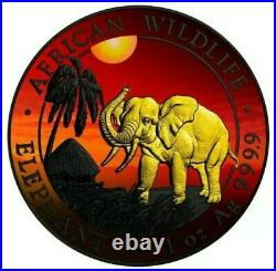 2017 1 Oz Silver AFRICAN ELEPHANT AT SUNSET Ruthenium Coin WITH 24K GOLD