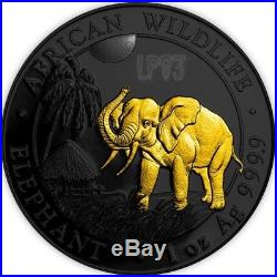 2017 1 Oz Silver SOMALIAN ELEPHANT Coin WITH 24k Gold Gilded. IN CAPSULE
