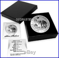 2017 1 Oz Silver SOMALIAN SHADOW ELEPHANT Coin, RUTHENIUM