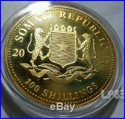 2017 1 Oz Somalia Elephant 24K Gold Gilded. 999 Fine Silver Coin, Two Tone
