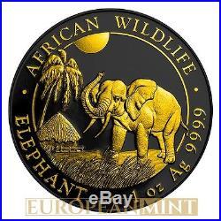 2017 1 oz 9999 Fine Silver Elephant Somalia Ruthenium & 24k Gold Gilded