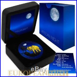 2017 1 oz Fine Silver Elephant Somalia African Night Black Ruthenium Box & COA