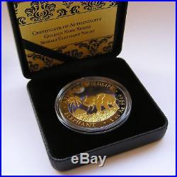 2017 1 oz Silver Somali Elephant NIGHT Coin- Ruthenium Gold Gilded, Box & COA
