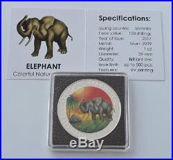 2017 1oz. 999 Somalia African Elephant Colorized Box & Coa (Mint Condition)