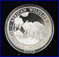2017 $200 Shilling Somali Republic African Wildlife Elephant 2 oz Silver Coin