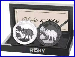 2017 2 Oz Silver SOMALIAN WHITE AND BLACK AFRICAN ELEPHANT Coin With 24K RURHENIUM