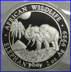 2017 2 oz Somalia Silver Elephant Coin (BU) Ships Free In Capsule