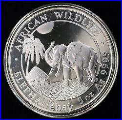 2017 $500 Shilling Somali Republic African Wildlife Elephant 5 oz Silver Coin