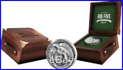 2017 5 Oz Silver 500 Francs Ivory Coast ELEPHANT BIG FIVE MAUQUOY Coin