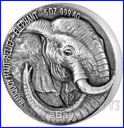 2017 5 Oz Silver ELEPHANT BIG FIVE Mauquoy Coin 5000 Francs Ivory Coast