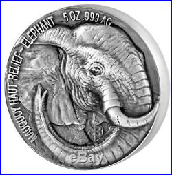 2017 Ivory Coast 5 Ounce African Big 5 Elephant Mauquoy High Relief Silver Coin